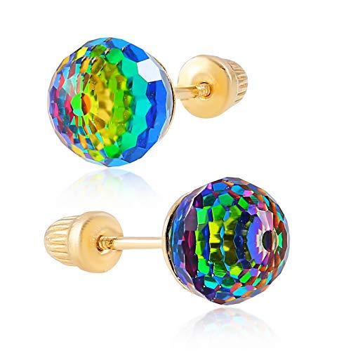 14K Yellow Gold Rainbow CZ Disco Ball Stud Earrings for Women & Girls - Hypoallergenic for Sensitive Ears