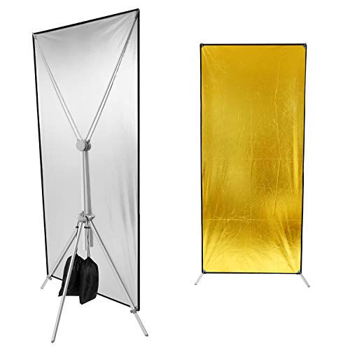 Neewer Photo Studio Gold/Silver Flat Panel Reflector 35×71 inches/89×180 Centimeters Lighting Reflector for Professional Photo Studio Indoor Lighting with Stand ()