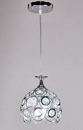 Diamond Life 1 Light Chrome Finish Metal Shade Crystal Chandelier Hanging Pendant Ceiling Lamp Fixture 8651
