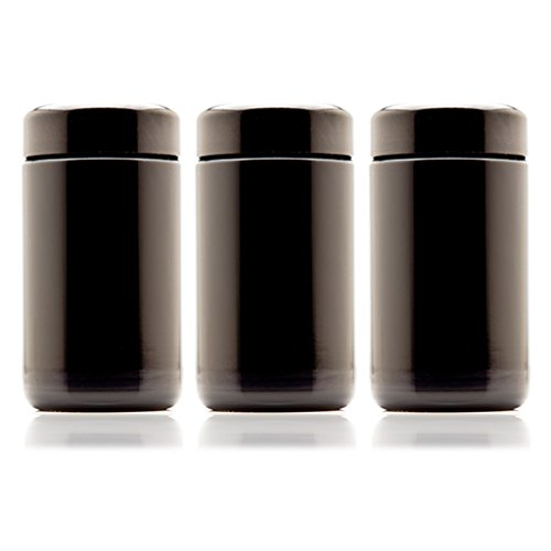 Infinity Jars 150 ml (5.07 fl oz) 3-Pack Tall Black Ultraviolet Refillable Empty Glass Screw Top Jar