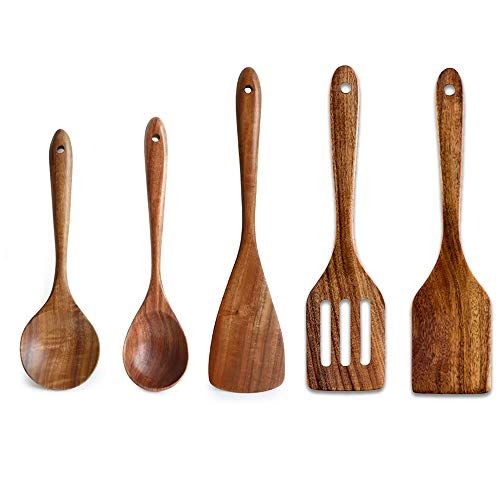 5 Pcs Luxury Wooden Utensils Non Stick Spatula Set-Best Cooking Spatula, Slotted Spatula, Angled Turner Spatula, Serving Soup Spoon & Mixing Spoon Kitchen Cookware ()