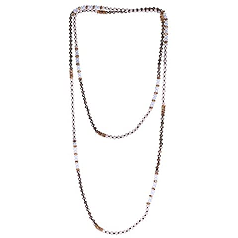 KELITCH Crystal Beaded Necklace Double Wrap Necklace Boho Tribal Women Necklace (White) - Crystal Wrap Necklace