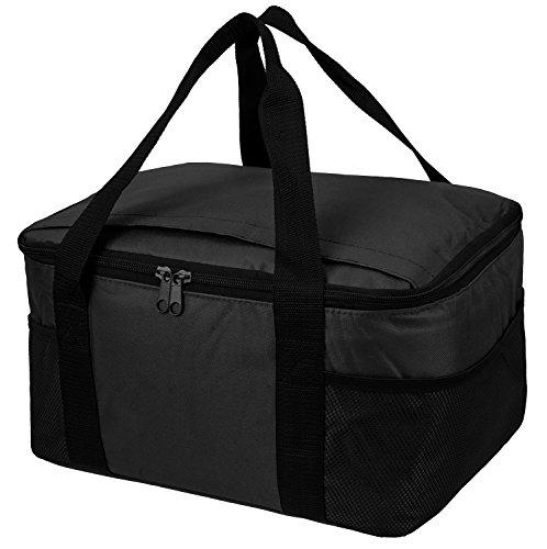 Praktische, leichte Kühltasche mit großem Hauptfach und 2-Wege Reißverschluss schwarz 37 x 20 x 27 cm