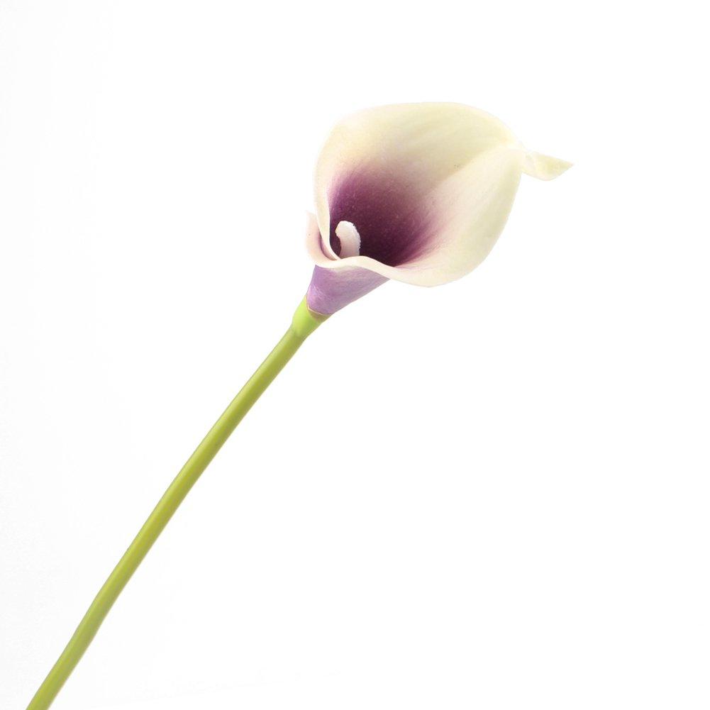 20, Purple Leagel Calla Lily Bridal Wedding Bouquet Head Lataex Real Touch Flower Bouquets