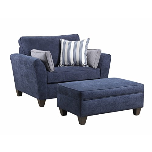 Svitlife Simmons Upholstery Prelude Navy Storage Ottoman Square Velvet Round Seat Fabric Large Stool Skyline Leather