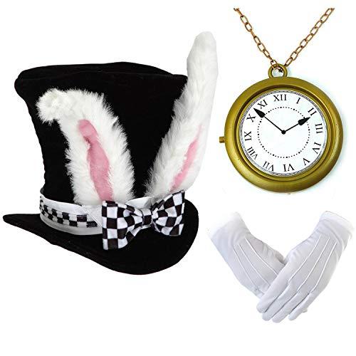 White Rabbit Costume Set - Velvet Bunny Ear Top Hats,Oversized White Rabbit Clock,Deluxe Theatrical Gloves