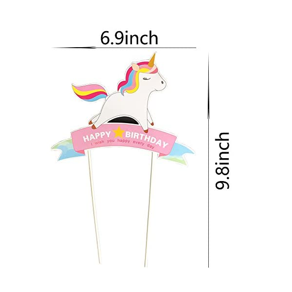 Blue Handmade Unicorn Birthday Cake Toppers, Cake Decorations for Kids Birthday Party Supplies 5