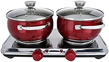 Cooks Essentials Stainless Steel Double Burners & Cookware Set ...