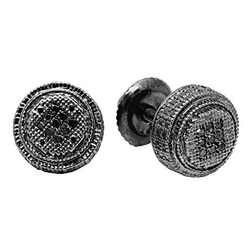 Cluster Earrings Diamond Silver (Dazzlingrock Collection 0.05 Carat (ctw) Round Black Diamond Ladies Cluster Stud Earrings, Sterling Silver)