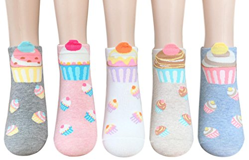 Sweet Cupcake Casual Women Teen Girls Ankle Socks Gifts Christmas Stocking Stuffers (Sweet Cupcakes) for $<!--$13.90-->