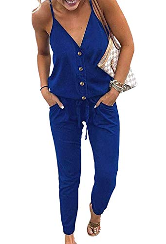 PRETTYGARDEN Women's Spaghetti Strap V Neck Button Drawstring Summer Stretchy Long Romper Jumpsuit with Pockets (Blue, X-Large)