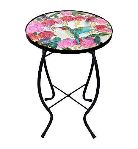 Continental Art Center Inc. CAC3411831 14'' Hand Painted Hummingbird Glass Plant Stand/Side Table for Indoor and Outdoor use, Green