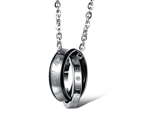 INBLUE Men,Women's 2 PCS Stainless Steel Pendant Necklace CZ Silver Gold Tone Black Ring Love Couple -with 20 and 23 Inch Chain by INBLUE (Image #2)