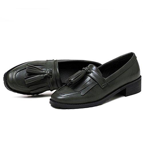 COOLCEPT Mujer Clasico Acento Irlandes Bombas Zapatos Formal Colegio Plano con Flecos Verde