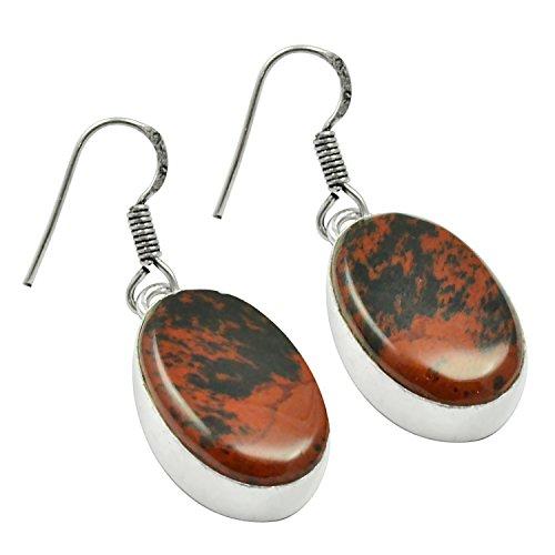 Genuine Red Jasper Earrings - Genuine cabochon Red Jasper 925 Silver Plated Earring