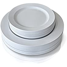 """"""" OCCASIONS """" 120 Piece Pack Premium Disposable Plastic Plates Set - 60 x 10.5'' Dinner + 60 x 7.5'' Salad / dessert (120 pcs, Plain White)"""