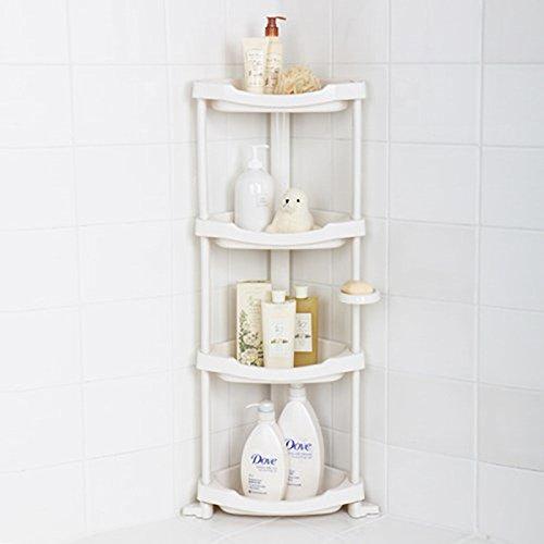 Tenby Living Corner Shower Caddy - 4 Shelf Shower Organizer Caddie with Movab. (Shelf Corner Caddy)
