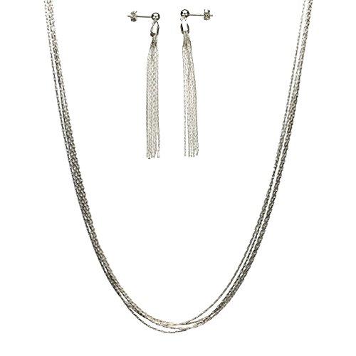 (Multi-Strand Sterling Silver Chain Necklace Adjustable 16-18 Inch, Post Earrings)