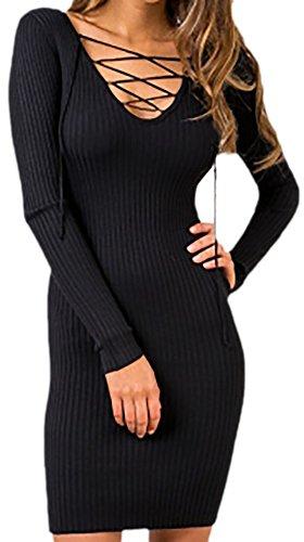 erdbeerloft - Damen Fashion Wollkleid mit Schnürung, Schwarz, Größe L