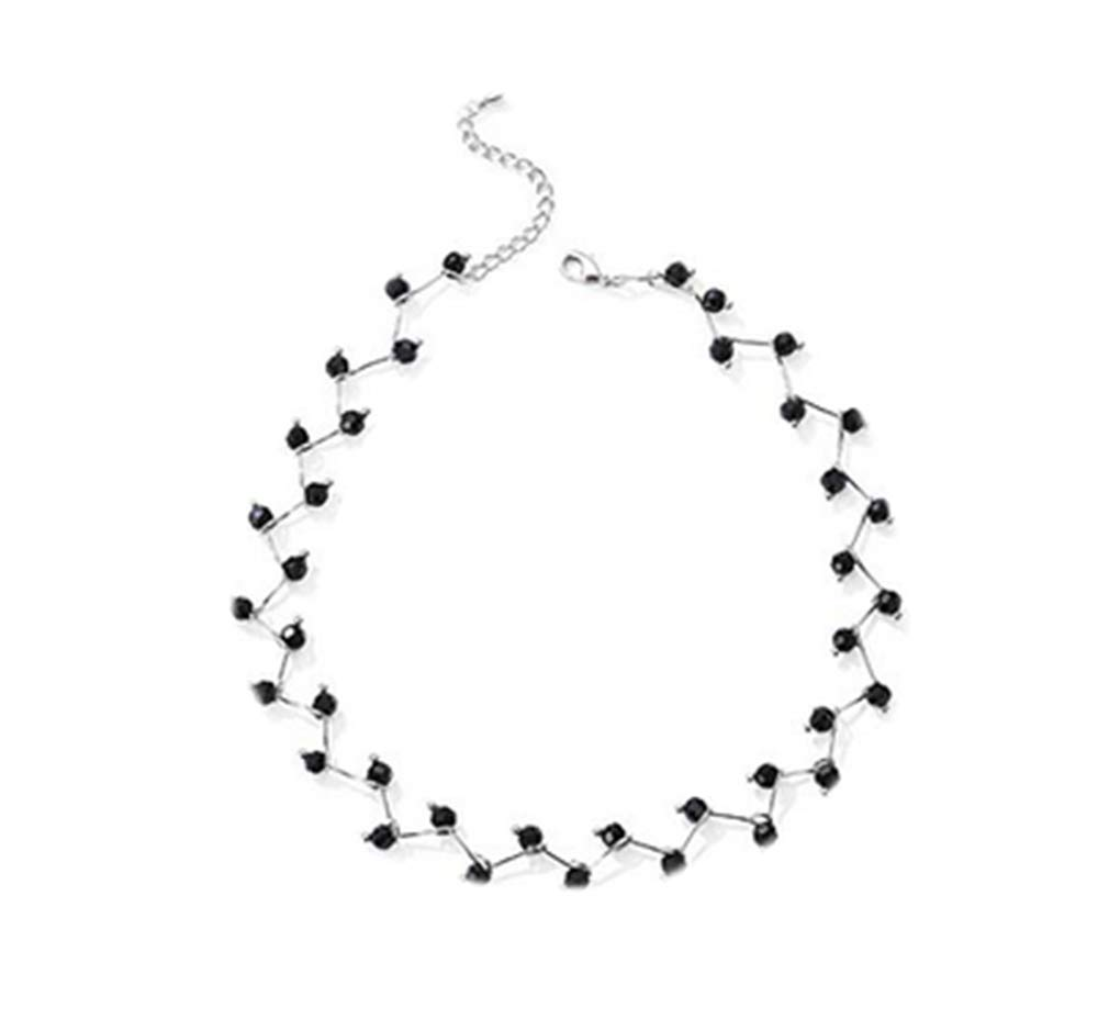 Ailainniyishi Women Fashion Pearl Clavicle Chain Simple Choker Necklace Dainty Jewelry (Black Silver)