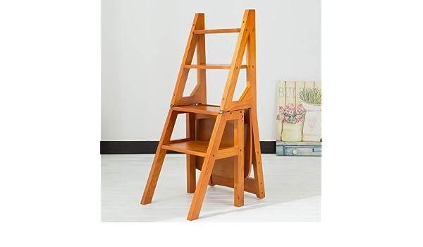 Ldwxxx Silla Plegable Escalera Plegable - Madera Plegable Escalera del Taburete del Estante - Biblioteca Pasos Planta Estante Soporte for el Almacenamiento y Decoración (Color : C): Amazon.es: Hogar