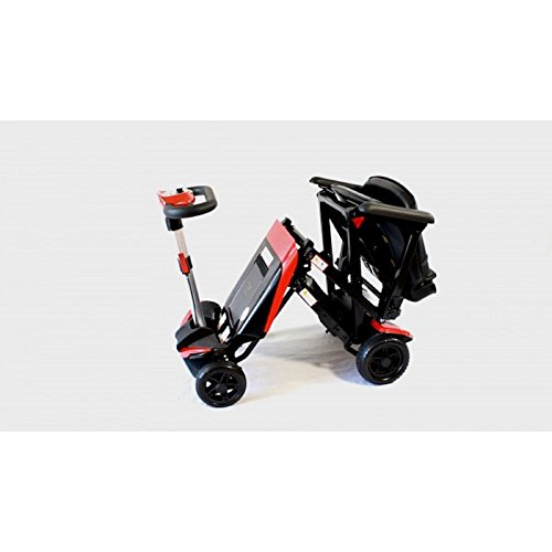 The transforming electric folding scooter 4 wheel red for Fold up scooters motorized