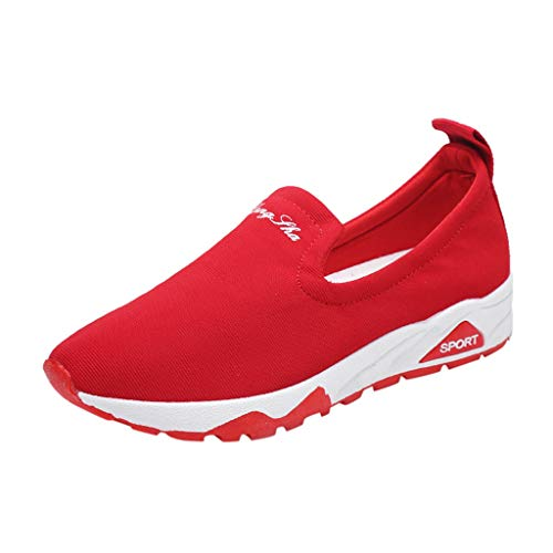 Loafers Sneakers for Women,SMALLE◕‿◕ Women's Slip-On Walking Shoes Nurse Shoes Casual Moccasin Driving Shoes Red