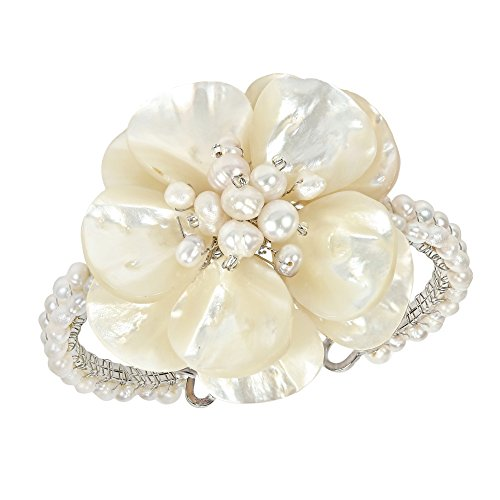 Floral Attention White Mother of Pearl and Cultured Freshwater White Pearl Cuff Bracelet