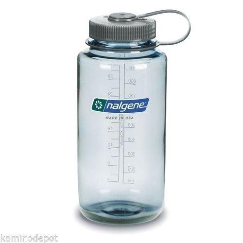 Reusable Water Bottle Wide Mouth BPA Free Seafoam Gray Cap ()
