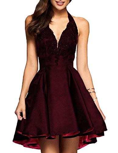 Cocktail Hi Short Prom Lo Plum Dress Neck Homecoming red Women's V Pocket with DYS Dress TaqwzH