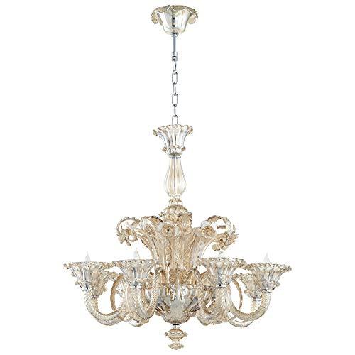 - Elegant Italian Style Hand Blown Cognac Glass 8 Light Chandelier