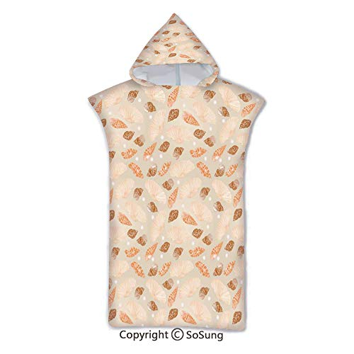 Pearls Decoration Kids Hooded Beach Bath Towel,Pattern with Pearls Seashells an Oysters Natural Marine Life Style Decor Beach Theme,7-15 Years Old Microfiber Bath Robe,Tan Peach,for Beach Pool Shower