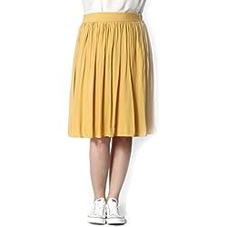Mikarose Women's Plus Size Cotton Full Skirt Yellow