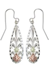 Black Hills Gold Sterling Silver Teardrop Earrings