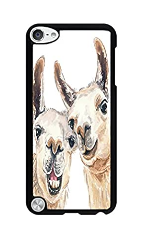 DDOLAA For Apple iPod Touch 6 Case.iPod Touch 5 Hard Case Llama Watercolor Painting [Shock Absorption Protection] Black PC Hard Case For iPod iTouch 5Th/6Th Cover (Ipod 5 Llama Case)