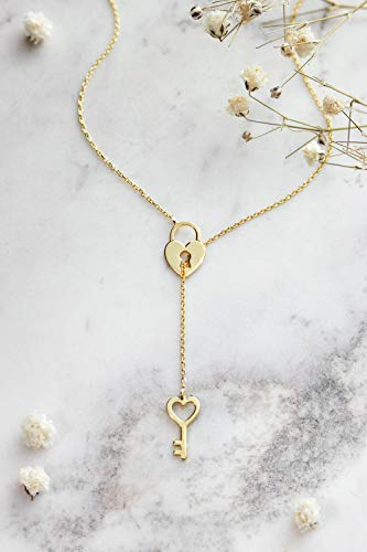 Gold Locket and Key Lariat, Gold Heart Necklace, 9K, 14K, 18K Gold Necklace, Yellow Gold, Heart Locket Charm, Heart Key Charm, Gift Woman, Romantic Love Necklace/code: 0.003