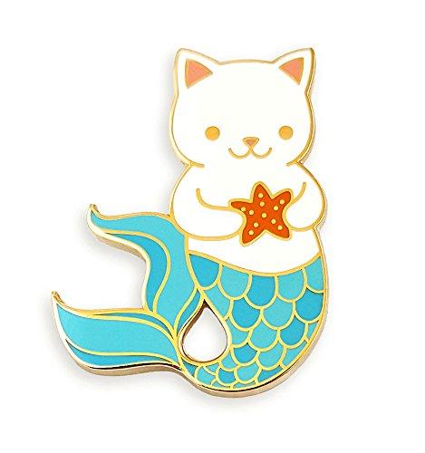 - Pinsanity Cute Cat Mermaid Enamel Lapel Pin