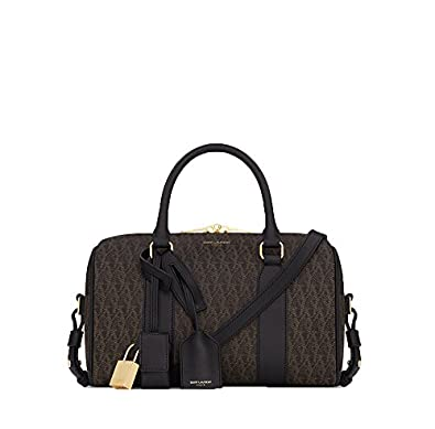 ea06af436084 YSL Saint Laurent Classic Toile Monogram Duffle 6 Bag in Black Printed  Canvas and Leather 342102
