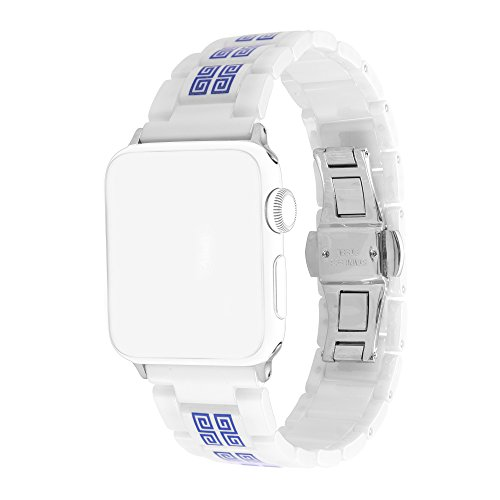 (For iWatch Bands 38mm AISPORTS Apple Watch Band 38mm Ceramics Smart Watch Band Replacement Band with Metal Bracelet Buckle Butterfly Clasp for 38mm iWatch Series 3/2/1 Sport Edition - Porcelain White)