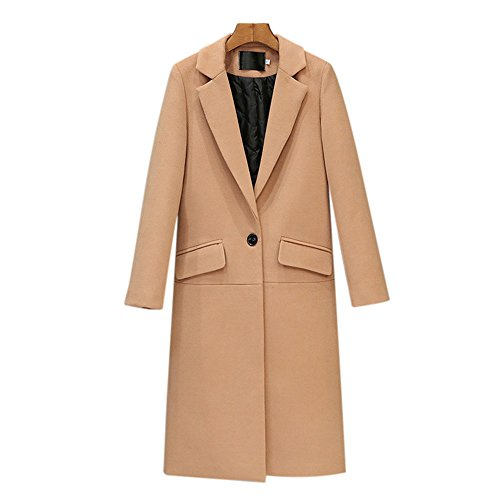 Uwback Women's Casual Pea Coat Single Button Woolen Coat camel US Size 10, CN Size L