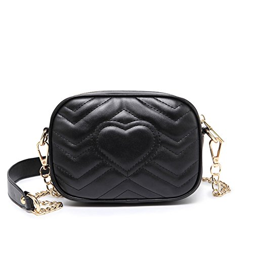 DCRYWRX Kleine Schulter Handtaschen Für Frauen Umhängetasche Kette Schulter Abend Clutch Geldbörse Formale Tasche Black