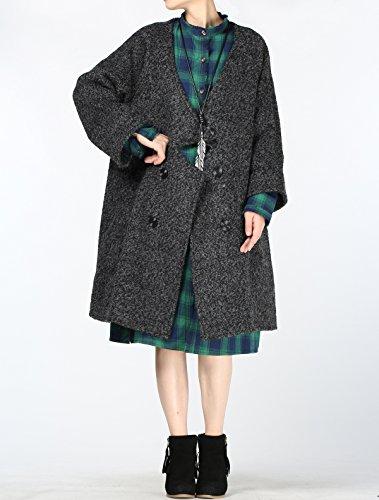 499dfe69d9350 ... Hiver Manteau Long Femme Nouveau Gris 2 Lache Pardessus Vogstyle noir  Style de Bouton Laine p65gq5w8 ...