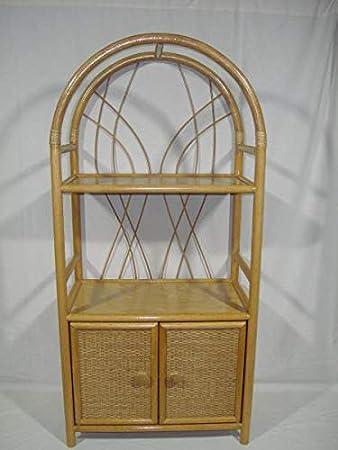 color miel Estanter/ía de rat/án con puertas Rattan im Trend fabricado en Alemania