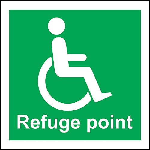 Refuge Point - INDIGOS UG - Sticker - Safety - Warning - Refuge Point Symbol Safety Sign 200mm x 200mm - Decal for Office/Company/School/Hotel