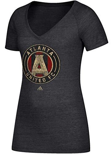 adidas Atlanta United Women's Team Logo Heathered Tri-Blend V-Neck T-Shirt (Medium)