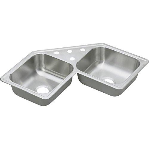 Stainless Corner Sink (Dayton DE217323 Equal Double Bowl Corner Stainless Steel Sink)