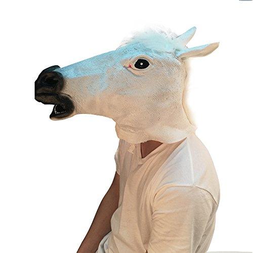 Halloween Novelty Latex Horse Head Mask (White) (Horse Mask Child)