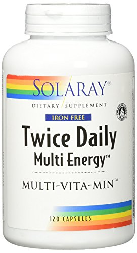 Solaray Multi Energy Iron Free Two Daily Capsules, 120 Count ()