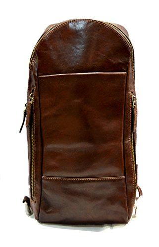 Mens waist leather shoulder bag hobo bag travel back sling satchel brown backpack leather backpack leather sling by ItalianHandbags