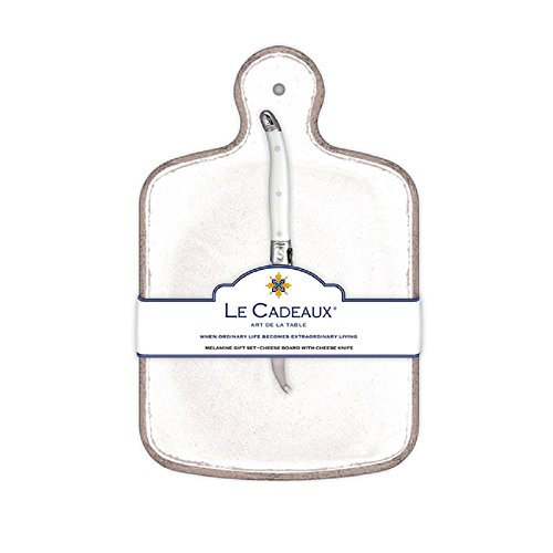 Le Cadeaux Rustica Cheese Board With Knife, White by Le Cadeaux